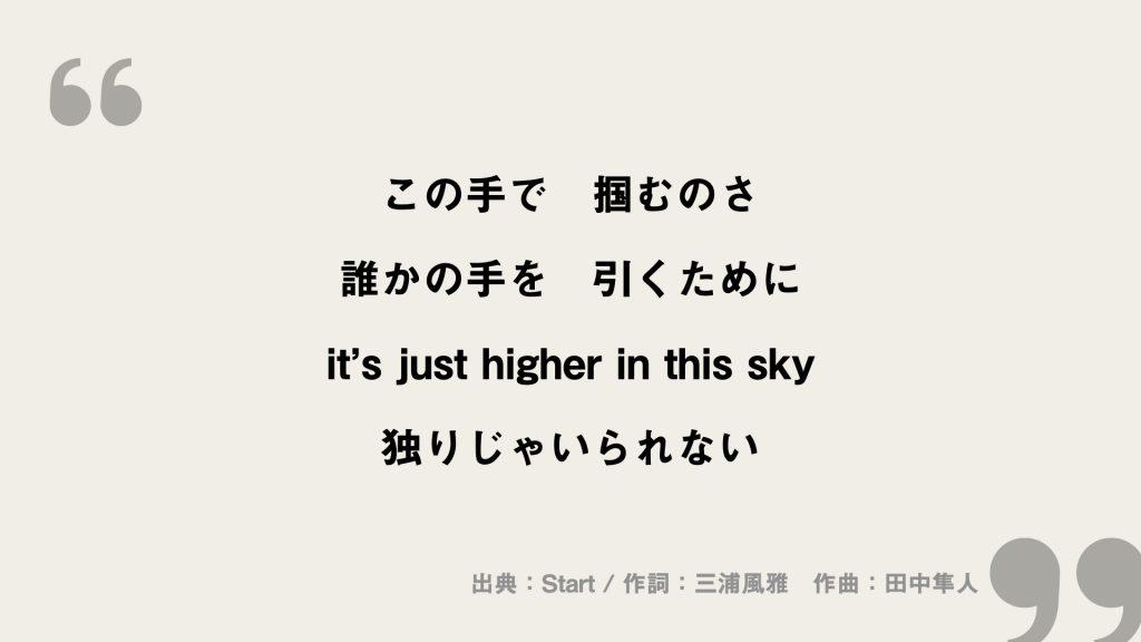 この手で 掴むのさ 誰かの手を 引くために it's just higher in this sky 独りじゃいられない